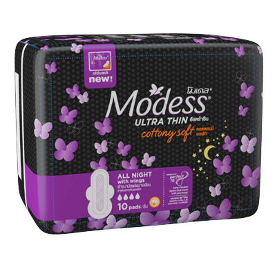 Modess All Night Ultra Thin Sanitary Napkins with Wings